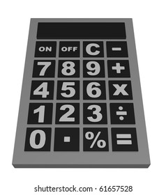 Illustrated calculator isolated on a white background