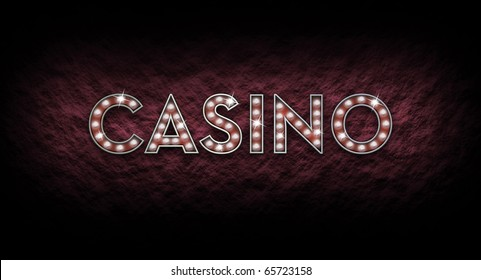 Illustrated casino sign made of shining lights