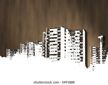 Illustrated city scape over a blurred brown background