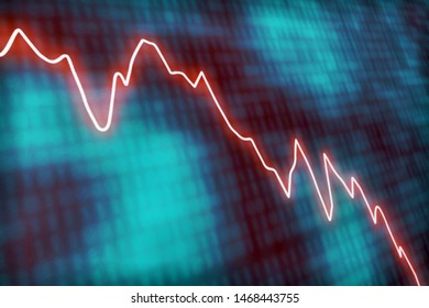 Illustrated concept wth a glowing red line graph decreasing at a fast rate