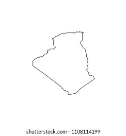 An Illustrated Country Shape of Algeria