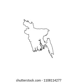 An Illustrated Country Shape of Bangladesh