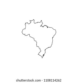 An Illustrated Country Shape of Brazil