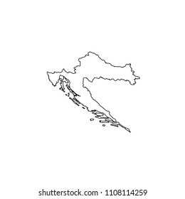 An Illustrated Country Shape of Croatia