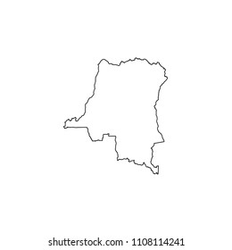 An Illustrated Country Shape of Democratic Republic of Congo