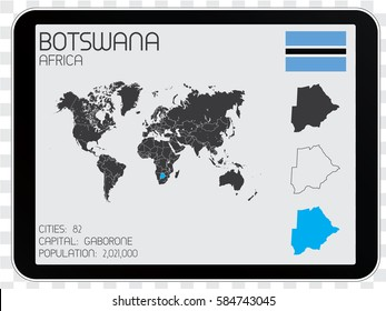 Illustrated Country Shape with the Flag inside of Botswana