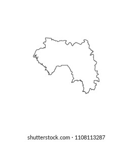 An Illustrated Country Shape of Guinea