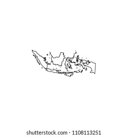 An Illustrated Country Shape of Indonesia