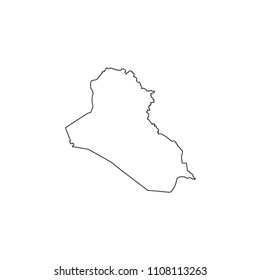 An Illustrated Country Shape of Iraq