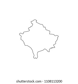 An Illustrated Country Shape of Kosovo