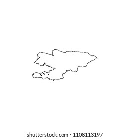 An Illustrated Country Shape of Kyrgyzstan