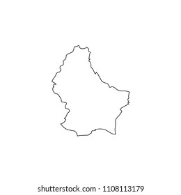 An Illustrated Country Shape of Luxembourg