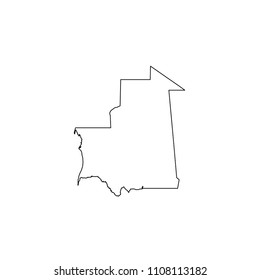 An Illustrated Country Shape of Mauritania