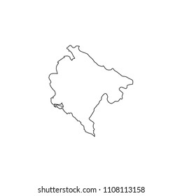 An Illustrated Country Shape of Montenegro