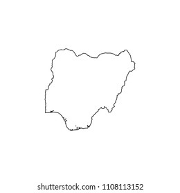 An Illustrated Country Shape of Nigeria