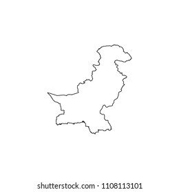 An Illustrated Country Shape of Pakistan