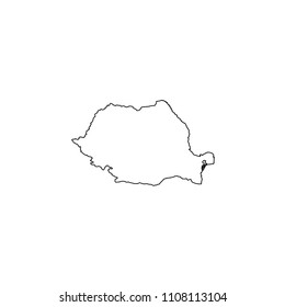An Illustrated Country Shape of Romania