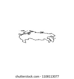 An Illustrated Country Shape of Russia
