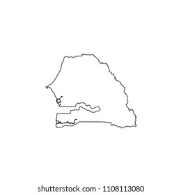 An Illustrated Country Shape of Senegal