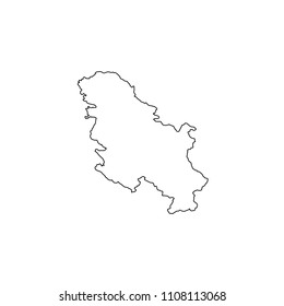 An Illustrated Country Shape of Serbia