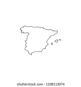 An Illustrated Country Shape of Spain