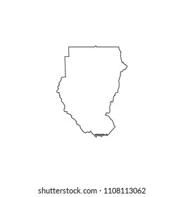 An Illustrated Country Shape of Sudan