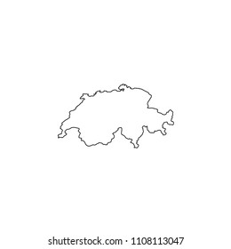 An Illustrated Country Shape of Switzerland