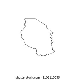An Illustrated Country Shape of Tanzania