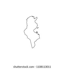 An Illustrated Country Shape of Tunisia