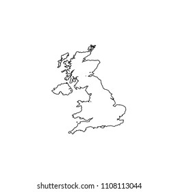 An Illustrated Country Shape of United Kingdom