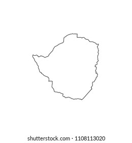 An Illustrated Country Shape of Zimbabwe