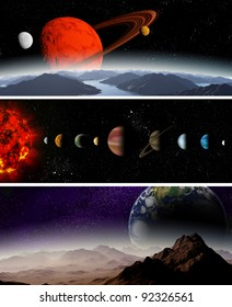 Illustrated diagram showing the order of planets in our solar system. Abstract illustration of planets in deep space.