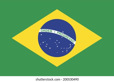 An Illustrated Drawing of the flag of Brazil