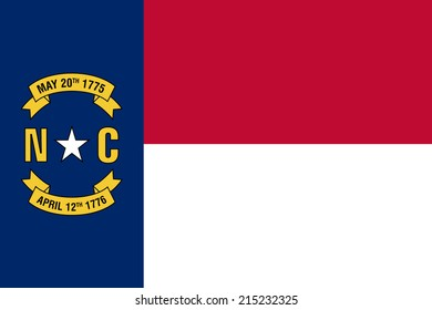 An Illustrated Drawing of the flag of North Carolina state (USA)