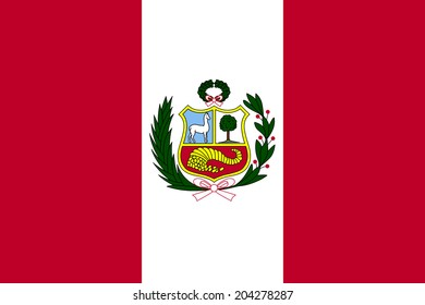 An Illustrated Drawing of the flag of Peru