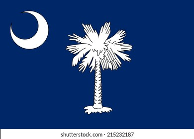 An Illustrated Drawing of the flag of South Carolina state (USA)