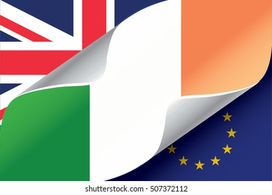 Illustrated EU and UK Flags with the Flag of  Ireland