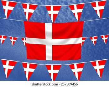 Illustrated flag of Denmark with bunting and a sky background