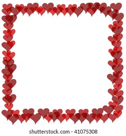 Illustrated frame of cartoon style red hearts with overlaps visible via transparency.  White background.