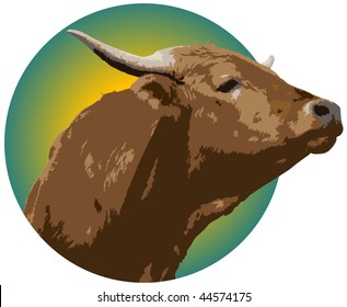 Illustrated logo of Short Horn cow in colored circle with white background