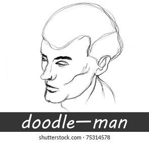 illustrated man Â?Â?doodle isolated on white background