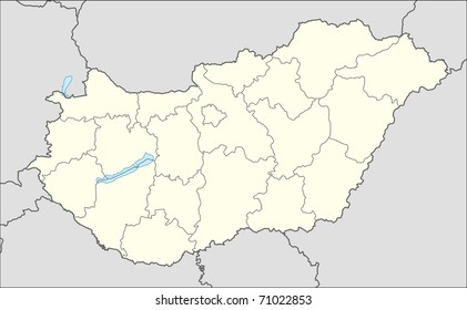 Illustrated map of the country of Hungary in Europe.