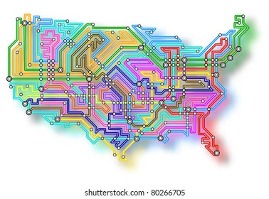 Illustrated map of the USA with color shadow
