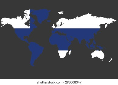 An Illustrated Map of the world with the flag of Finland