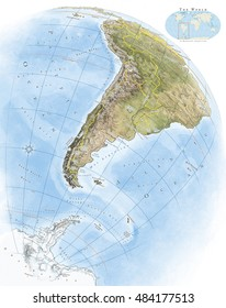 Illustrated physical color atlas map of South America and Antarctica, in globe perspective, with grid and labels
