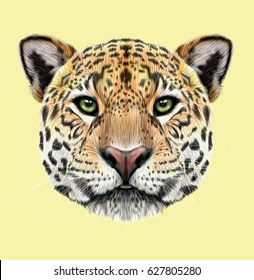 Illustrated portrait of Jaguar. Cute fluffy face of Big cat with green eyes on tan background.
