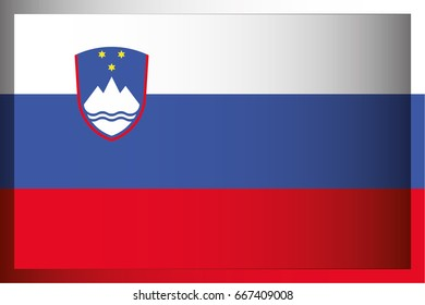 An Illustrated Rectangular 3D Flag for the Country of Slovenia