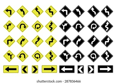 Illustrated Road Signs with Directions on a white background