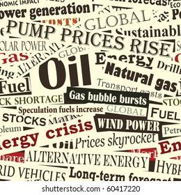 Illustrated seamless tile of energy headlines