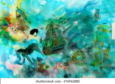 illustrated sequence from a dream   watercolor handmade   self-made illustration